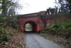 Under the bridge into Telford Town Park